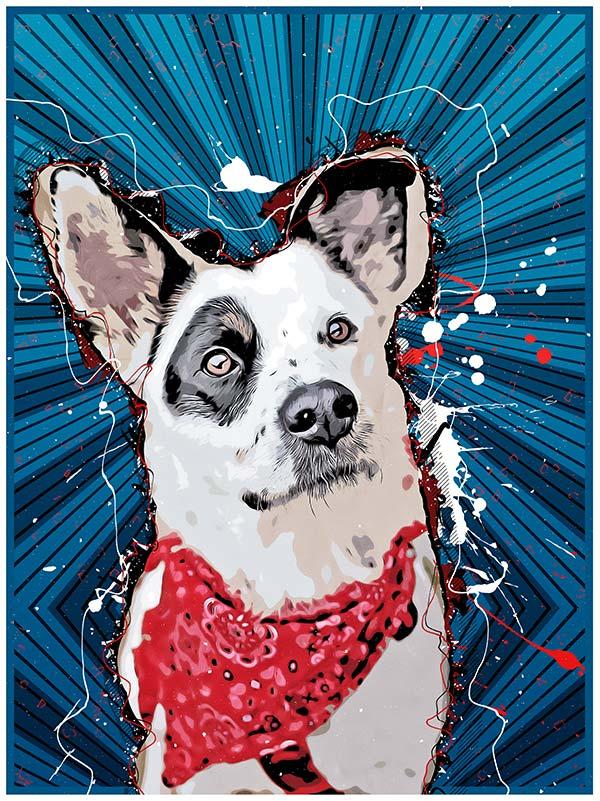 fotografía de perros versión comic